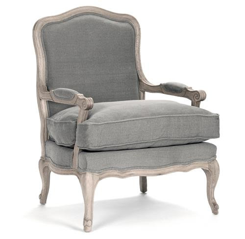 French Country Bastille Dark Grey Linen Salon Armchair | Kathy Kuo Home