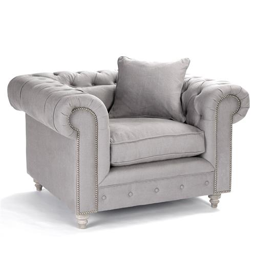 Alaine English Rolled Arm Grey Linen Tufted Club Chair | Kathy Kuo Home