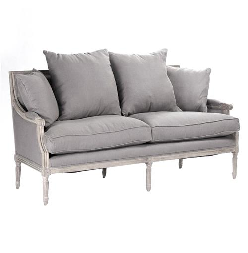 St. Germain French Country Limed Oak Louis XVI Grey Linen Sofa | Kathy Kuo Home