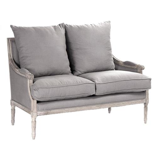 St. Germain French Country Limed Oak Louis XVI Grey Linen Settee | Kathy Kuo Home