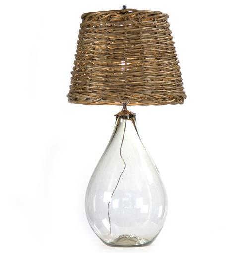 Panier French Cottage Large Glass Rustic Basket Shade Table Lamp - S | Kathy Kuo Home