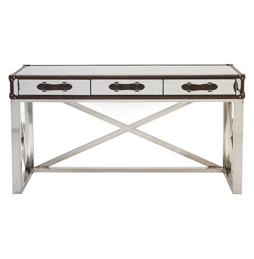 Vitran British Industrial Brown Leather Chrome Desk | Kathy Kuo Home