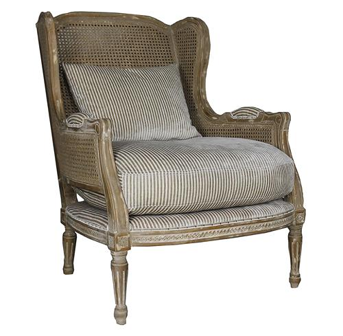 Montpelier French Country Buff Wing Back Salon Arm Chair | Kathy Kuo Home