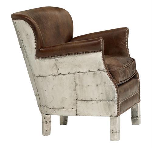 Asher british industrial loft stud accent arm chair