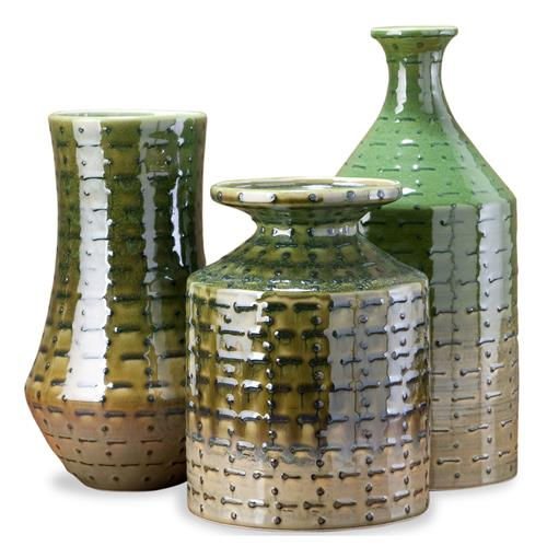Savannah Country Rustic Moss Ceramic Vase Set- Set of three | Kathy Kuo Home
