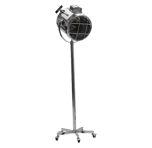 Spike Hollywood Regency Cinema Retro Silver Searchlight Castors Floor Lamp | Kathy Kuo Home