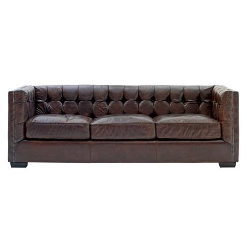 owen rustic lodge vintage brown leather arm sofa kathy kuo home