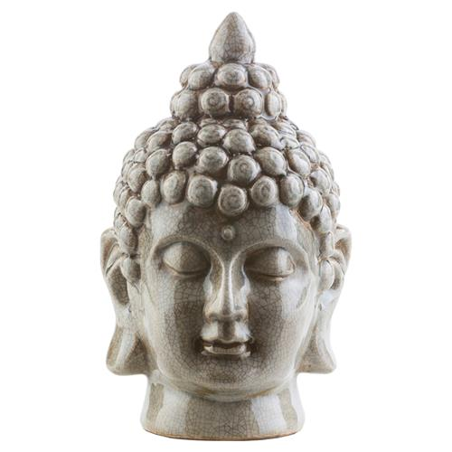 Radjah Global Bazaar Grey Ceramic Buddha Head Sculpture | Kathy Kuo Home