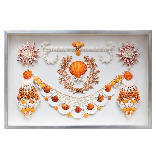Ibiza Coastal Beach Orange White Shell Grotto Wall Decor - by Karen Robertson | Kathy Kuo Home