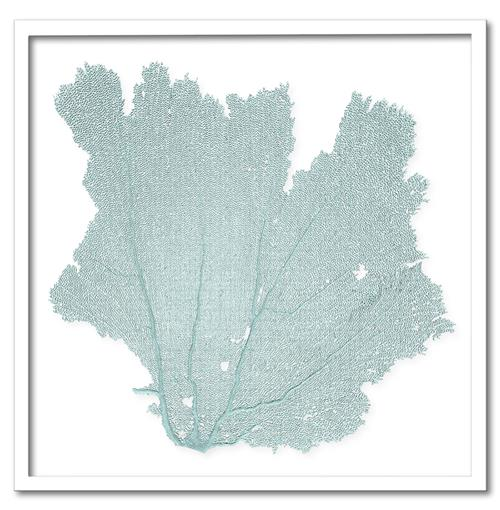 Avalon Coastal Beach Blue Haze Sea Fan Wall Decor - 24x24 - by Karen Robertson | Kathy Kuo Home