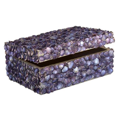 Oyster Bay Coastal Beach Lavender Shell Decorative Box - by Karen Robertson | Kathy Kuo Home