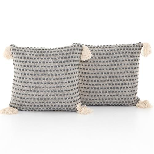 Hayley Modern Classic Grey Cotton Decorative Pillow - Set of 2 | Kathy Kuo Home