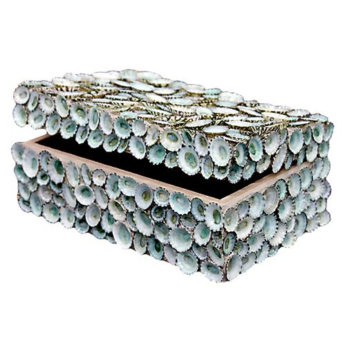 Oyster Bay Coastal Blue Limpet Shell Decorative Box - by WJC Design | Kathy Kuo Home
