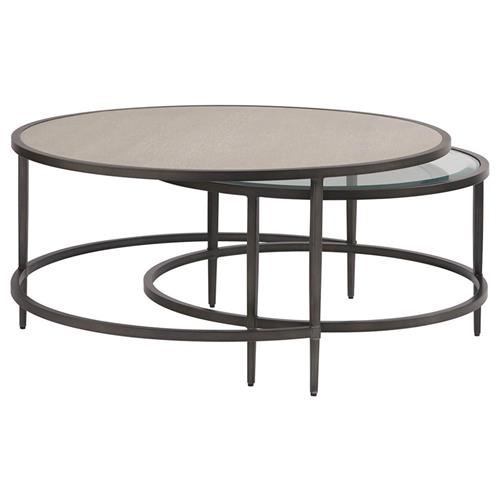 Mason Industrial Loft Grey Wood Glass, Small Round Metal And Glass Coffee Table