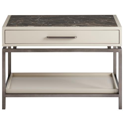 Seth Modern Classic Brown Stone Top White Wood Metal Nightstand | Kathy Kuo Home
