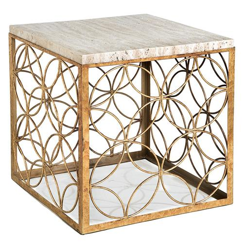 Love These Cube Tables For Patio Or Living Room Made From: Peck Hollywood Regency Travertine Gold Leaf Iron Cube End