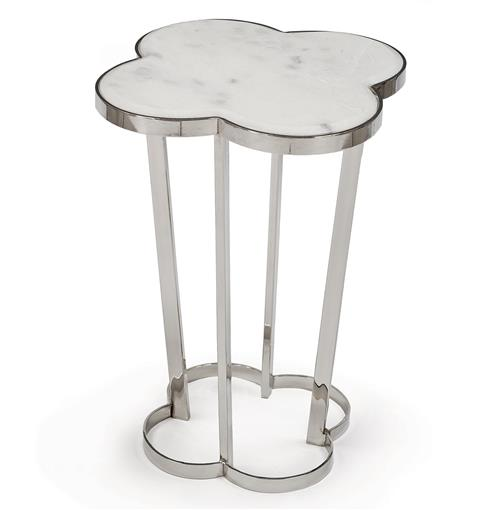 Lansbury Hollywood Marble Top Silver Metal Clover End Table | Kathy Kuo Home