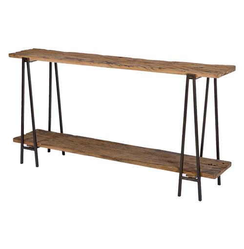 Regina Andrew Industry Rustic Lodge Wood Metal Rectangle Console Table | Kathy Kuo Home