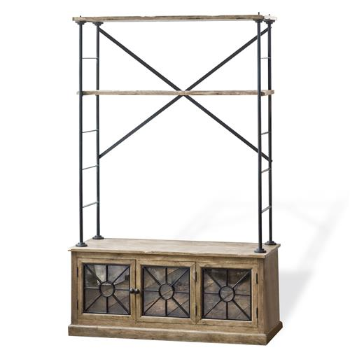 Brower Rustic Lodge Wood Metal Glass Rack Cabinet | Kathy Kuo Home