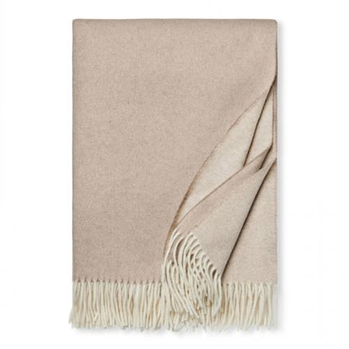 Sferra Modern Renna Natural Brown Fringed Throw | Kathy Kuo Home