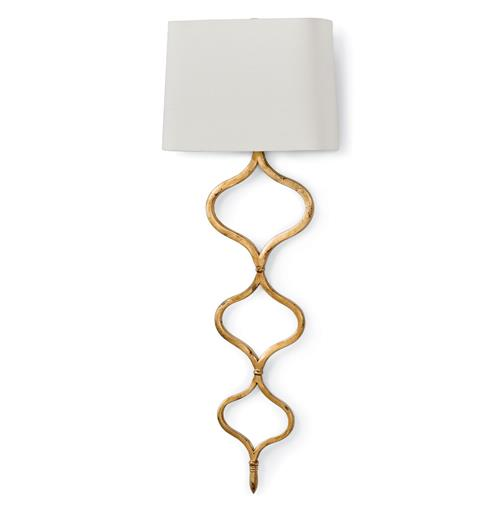 Havilland Hollywood Regency Gold Leaf Sinuous Metal Sconce | Kathy Kuo Home