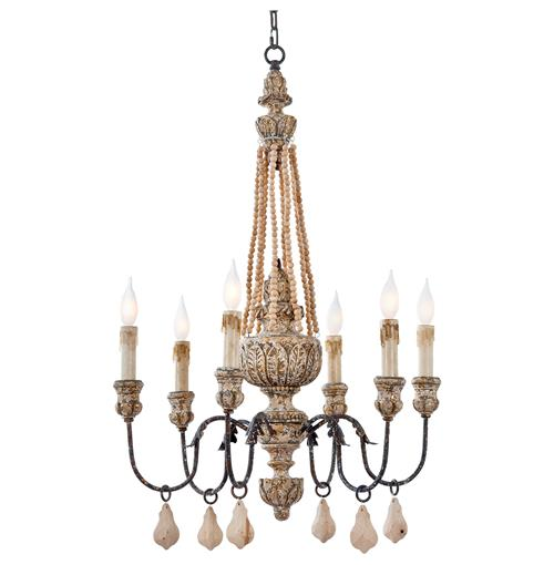 Ronsard French Country Wood Bead Parisian Chandelier | Kathy Kuo Home