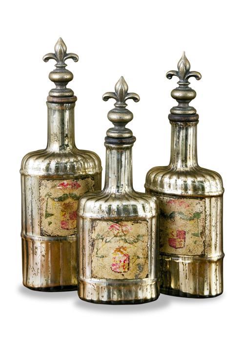 rouen antique french fleur de lis mercury glass bottle set. Black Bedroom Furniture Sets. Home Design Ideas