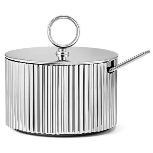 Georg Jensen Bernadotte Modern Classic Silver Stainless Steel Sugar Bowl and Spoon | Kathy Kuo Home