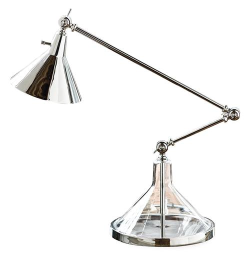 Ronnie Silver Glass Funnel Beaker Adjustable Task Lamp | Kathy Kuo Home