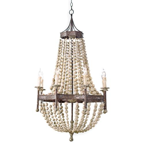 Regina Andrew Scalloped Coastal Beach Scalloped Wood Bead Metal Chandelier | Kathy Kuo Home