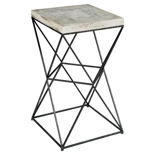 Ridge Industrial Loft Black Metal Concrete End Table | Kathy Kuo Home