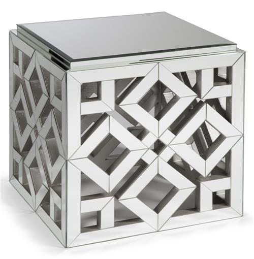 Valentino Hollywood Regency Mirrored Occasional Square End Table | Kathy Kuo Home