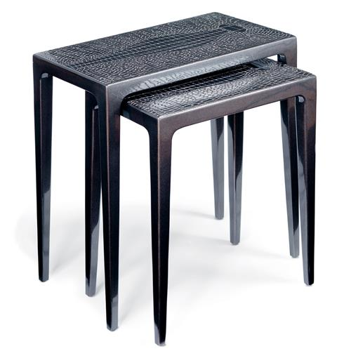 Pair of Stallinga Industrial Wood Metallic Lacquer Croc Nesting End Tables | Kathy Kuo Home