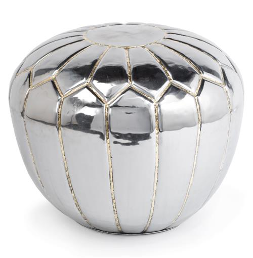 Magnani Hollywood Regency Polished Steel Pouf Ottoman | Kathy Kuo Home