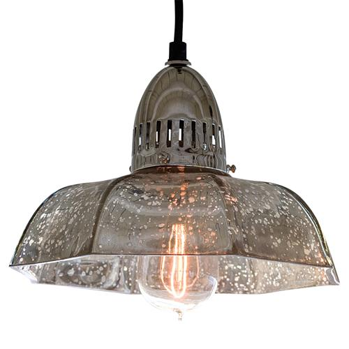 Birger Industrial Loft Antique Mercury Glass Dish Pendant | Kathy Kuo Home