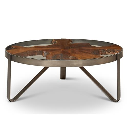 Buck Rustic Lodge Teak Wood Glass, Round Glass And Stainless Steel Coffee Table