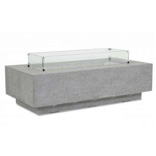 Sunset West Modern Grey Gravelstone Rectangular Outdoor Fire Pit Table | Kathy Kuo Home