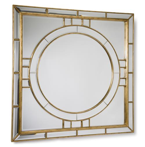 Darwell Hollywood Gold Leaf Square Beveled Mirror | Kathy Kuo Home