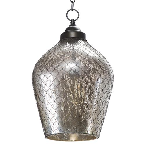 Colani Industrial Loft Mercury Glass Wire Cage Pendant | Kathy Kuo Home