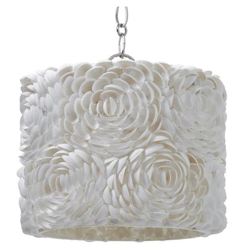 Hallandale Coastal Beach Seashell Petal Glass Drum Pendant | Kathy Kuo Home