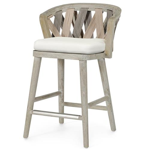 Palecek Boca Coastal Beach Grey Teak Woven Rope Outdoor Counter Stool | Kathy Kuo Home