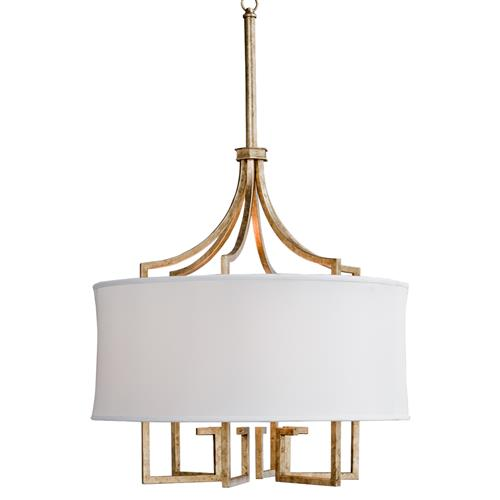 Tandy Hollywood Regency Linen Shade Gold Leaf Pendant | Kathy Kuo Home