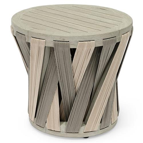 Palecek Boca Coastal Beach Grey Teak Woven Rope Outdoor Round Side End Table | Kathy Kuo Home