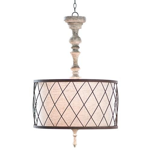Flaubert French Country Gesso Spindle Pendant | Kathy Kuo Home