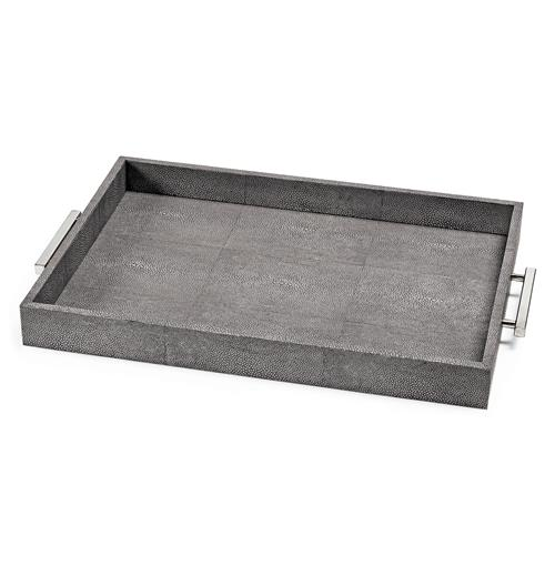 Hapuna Charcoal Faux Shagreen Silver Rectangle Tray | Kathy Kuo Home