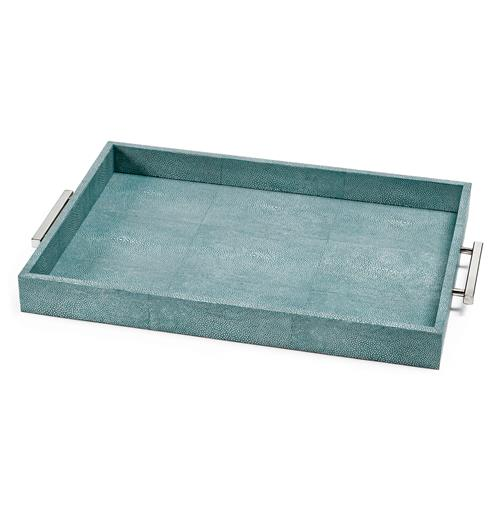 Regina Andrew Turquoise Turquoise Faux Shagreen Silver Rectangle Tray | Kathy Kuo Home