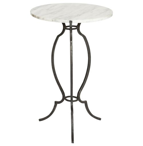 Porter House Hollywood White Marble Zinc Urn Side Table | Kathy Kuo Home