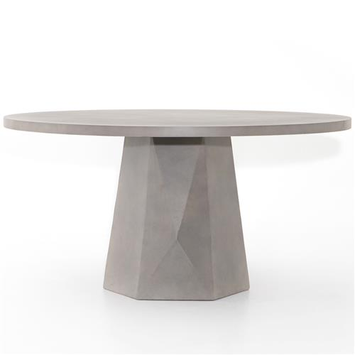 Thomson Industrial Loft Grey Concrete Round Outdoor Dining Table 51 D 60 D Kathy Kuo Home