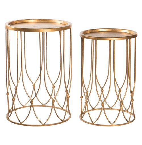 Wishbone Hollywood Regency Gold Accent Round Side Table- Set of 2 | Kathy Kuo Home