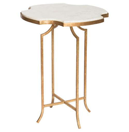 Gillian Hollywood Notched White Marble Gold Side Table | Kathy Kuo Home